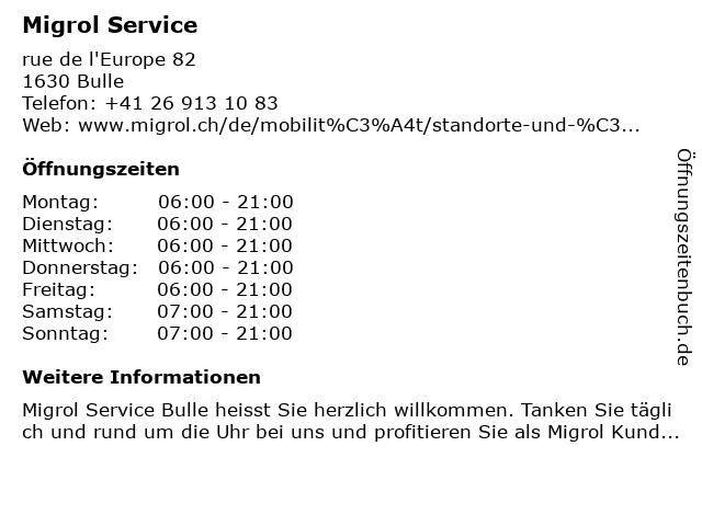 Migrol Service in Bulle: Adresse und Öffnungszeiten