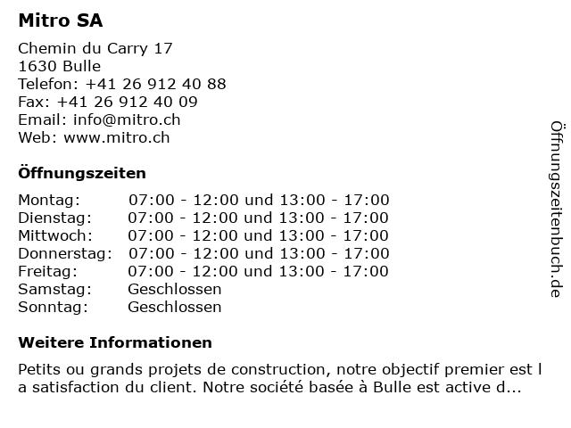 Mitro SA in Bulle: Adresse und Öffnungszeiten