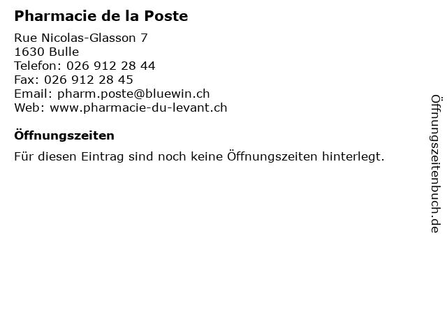 Pharmacie de la Poste in Bulle: Adresse und Öffnungszeiten