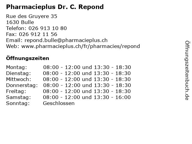 Pharmacieplus Dr. C. Repond in Bulle: Adresse und Öffnungszeiten