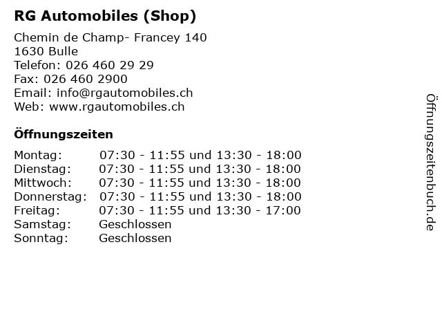 RG Automobiles (Shop) in Bulle: Adresse und Öffnungszeiten