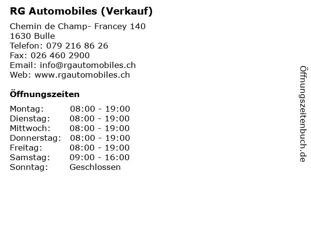 RG Automobiles (Verkauf) in Bulle: Adresse und Öffnungszeiten