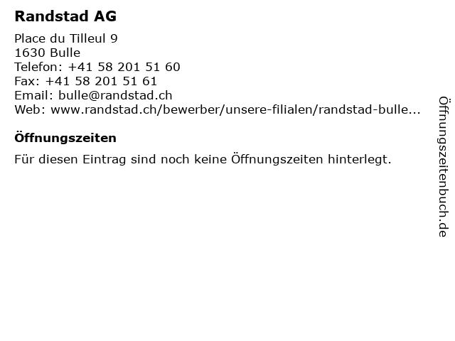 Randstad AG in Bulle: Adresse und Öffnungszeiten