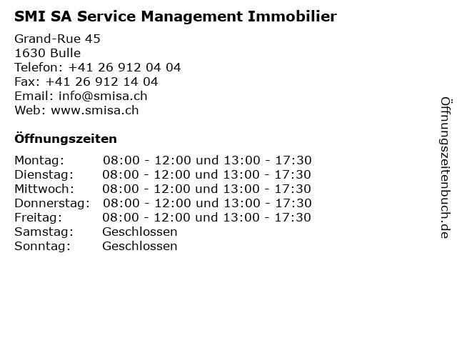SMI SA Service Management Immobilier in Bulle: Adresse und Öffnungszeiten