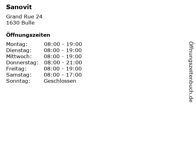 Sanovit in Bulle: Adresse und Öffnungszeiten