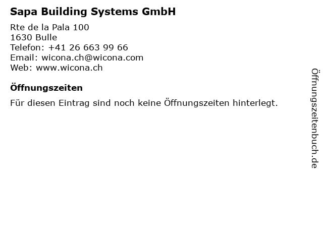 Sapa Building Systems GmbH in Bulle: Adresse und Öffnungszeiten