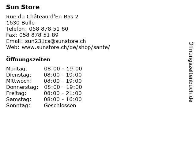 Sun Store in Bulle: Adresse und Öffnungszeiten