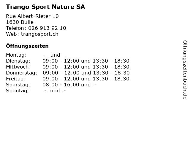 Trango Sport Nature SA in Bulle: Adresse und Öffnungszeiten