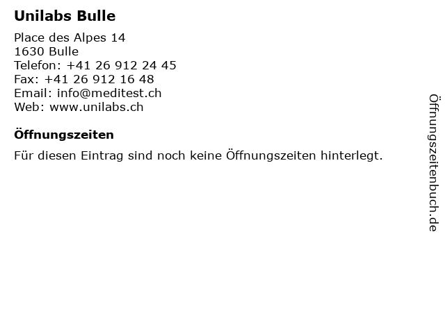 Unilabs Bulle in Bulle: Adresse und Öffnungszeiten