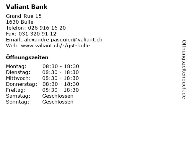 Valiant Bank AG in Bulle: Adresse und Öffnungszeiten