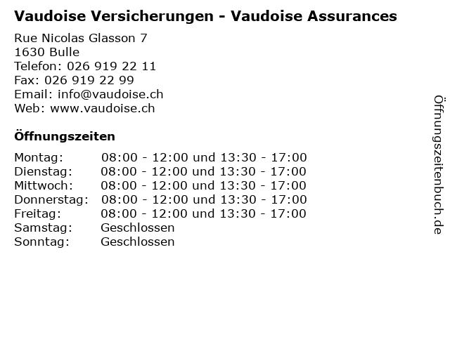 Vaudoise Versicherungen - Vaudoise Assurances in Bulle: Adresse und Öffnungszeiten