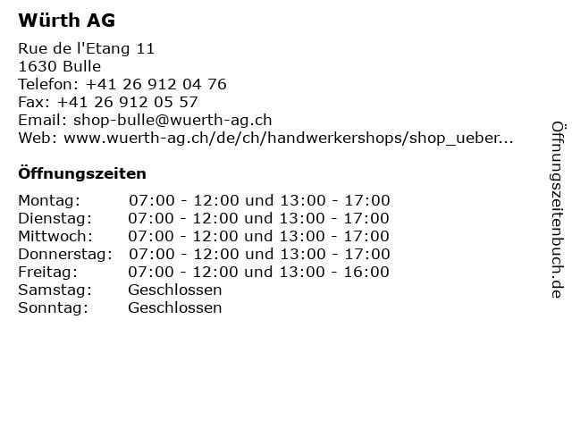 Würth AG in Bulle: Adresse und Öffnungszeiten