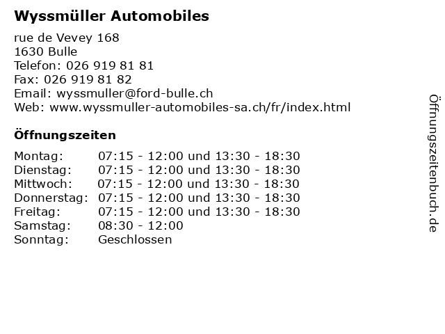 Wyssmüller Automobiles in Bulle: Adresse und Öffnungszeiten
