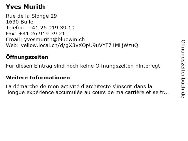 Yves Murith in Bulle: Adresse und Öffnungszeiten