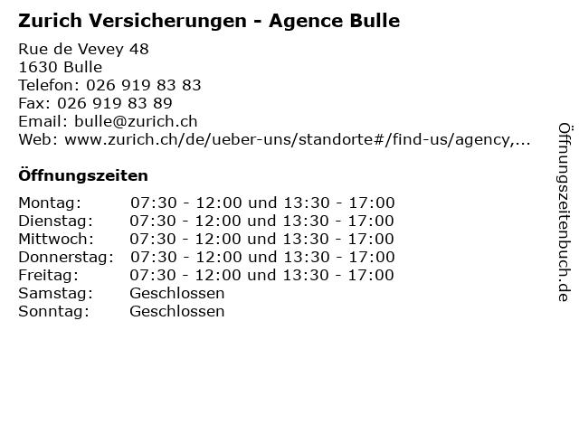 Zurich Versicherungen - Agence Bulle in Bulle: Adresse und Öffnungszeiten