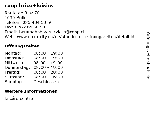 coop brico+loisirs in Bulle: Adresse und Öffnungszeiten
