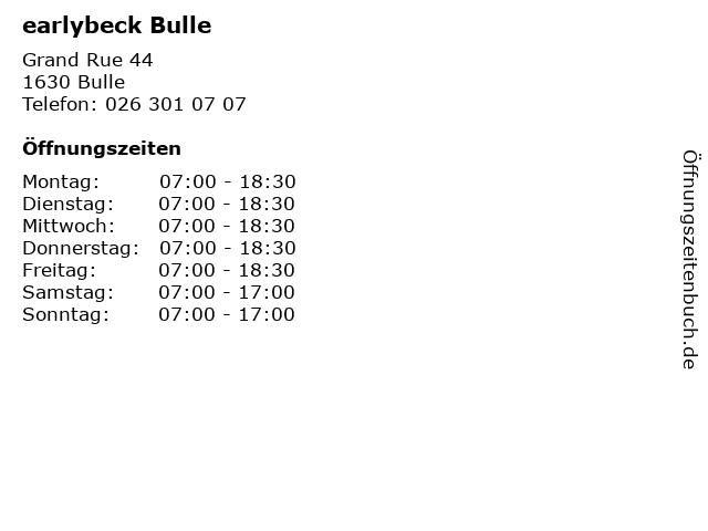 earlybeck Bulle in Bulle: Adresse und Öffnungszeiten