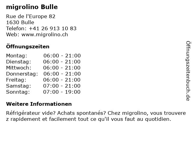 migrolino Shop in Bulle: Adresse und Öffnungszeiten