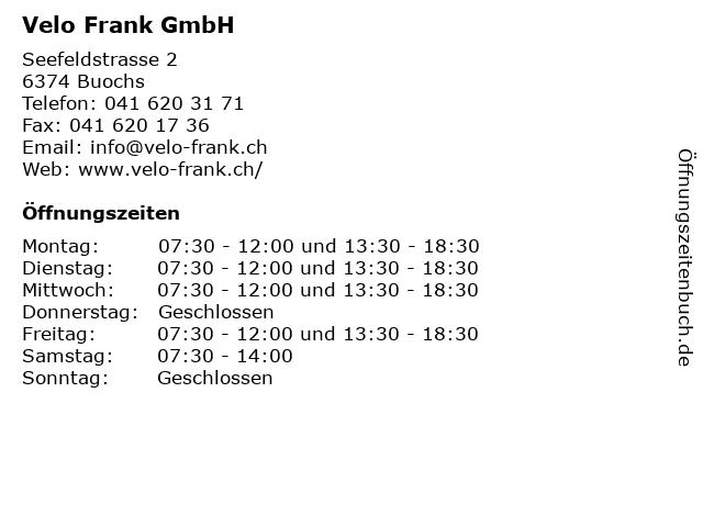 Velo Frank GmbH in Buochs: Adresse und Öffnungszeiten