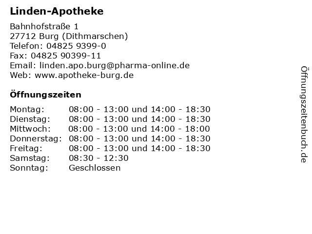 Linden-Apotheke in Burg (Dithmarschen): Adresse und Öffnungszeiten