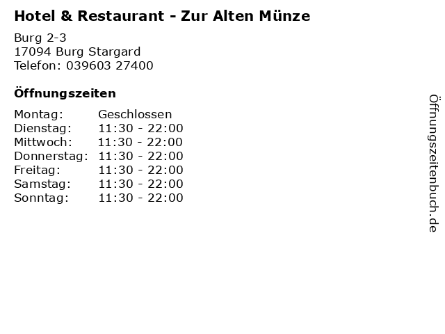 ᐅ öffnungszeiten Hotel Restaurant Zur Alten Münze Burg 2 3