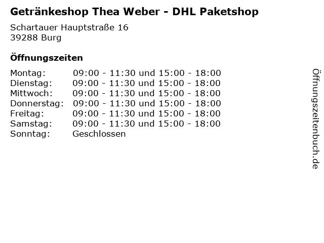 Getränkeshop Thea Weber - DHL Paketshop in Burg: Adresse und Öffnungszeiten