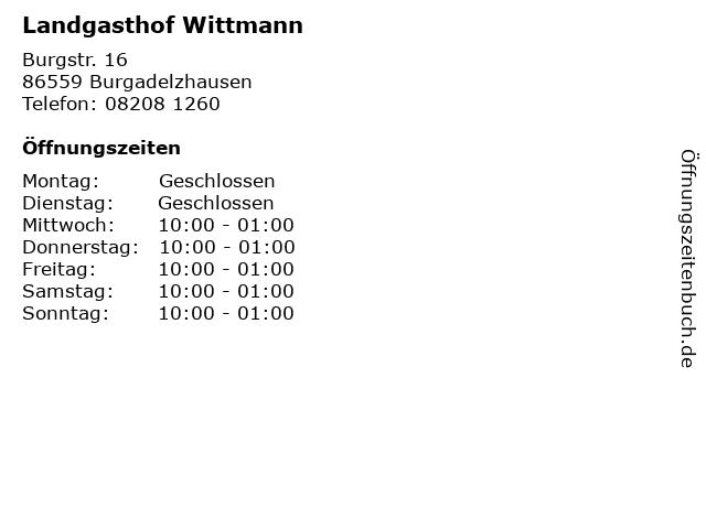 Landgasthof Wittmann in Burgadelzhausen: Adresse und Öffnungszeiten