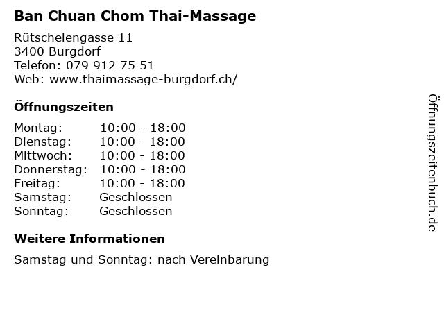 Ban Chuan Chom Thai-Massage in Burgdorf: Adresse und Öffnungszeiten