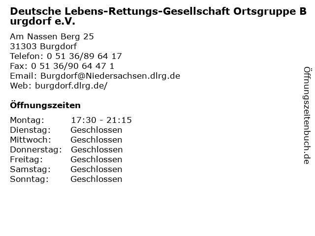 Deutsche Lebens-Rettungs-Gesellschaft Ortsgruppe Burgdorf e.V. in Burgdorf: Adresse und Öffnungszeiten