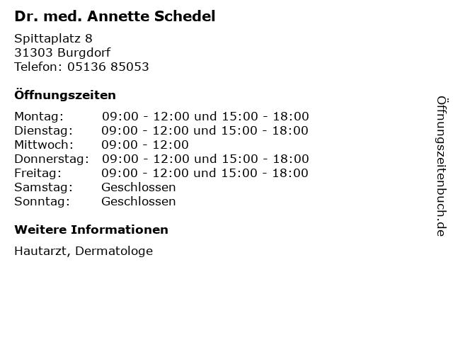 Dr. med. Annette Schedel in Burgdorf: Adresse und Öffnungszeiten