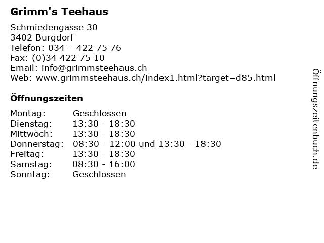 Grimm's Teehaus in Burgdorf: Adresse und Öffnungszeiten