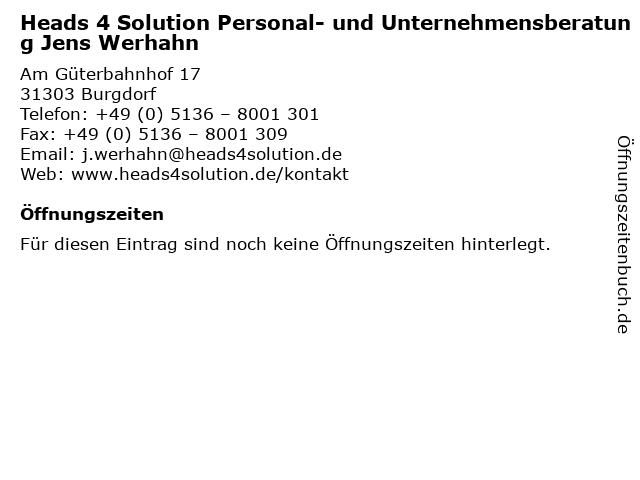 Heads 4 Solution Personal- und Unternehmensberatung Jens Werhahn in Burgdorf: Adresse und Öffnungszeiten