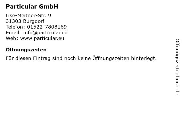 Particular GmbH in Burgdorf: Adresse und Öffnungszeiten