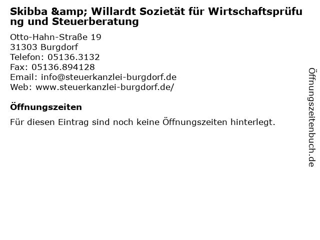 Skibba & Willardt Sozietät für Wirtschaftsprüfung und Steuerberatung in Burgdorf: Adresse und Öffnungszeiten