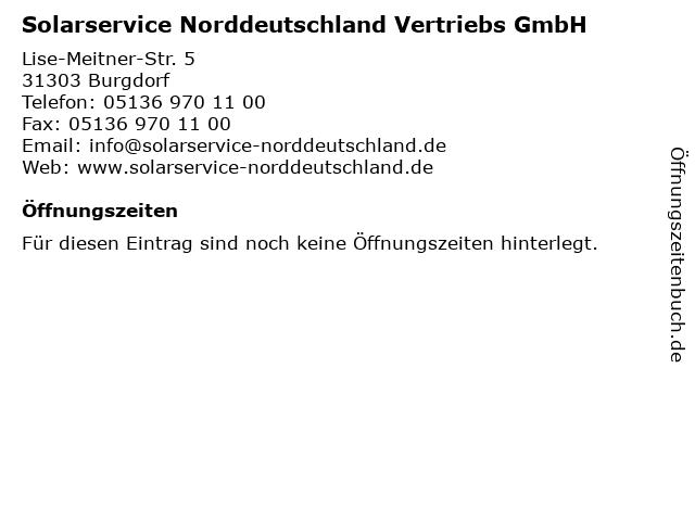 Solarservice Norddeutschland Vertriebs GmbH in Burgdorf: Adresse und Öffnungszeiten
