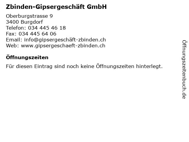 Zbinden-Gipsergeschäft GmbH in Burgdorf: Adresse und Öffnungszeiten