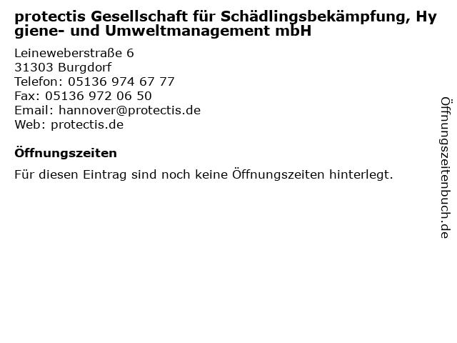 protectis Gesellschaft für Schädlingsbekämpfung, Hygiene- und Umweltmanagement mbH in Burgdorf: Adresse und Öffnungszeiten