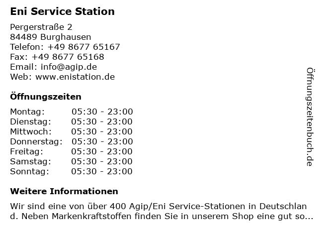 Agip Service Station in Burghausen: Adresse und Öffnungszeiten