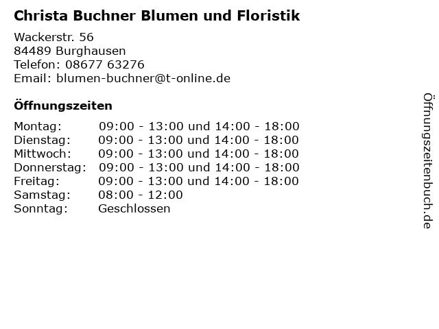 Christa Buchner Blumen und Floristik in Burghausen: Adresse und Öffnungszeiten