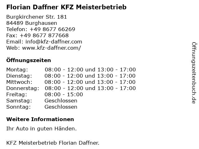 Florian Daffner KFZ Meisterbetrieb in Burghausen: Adresse und Öffnungszeiten