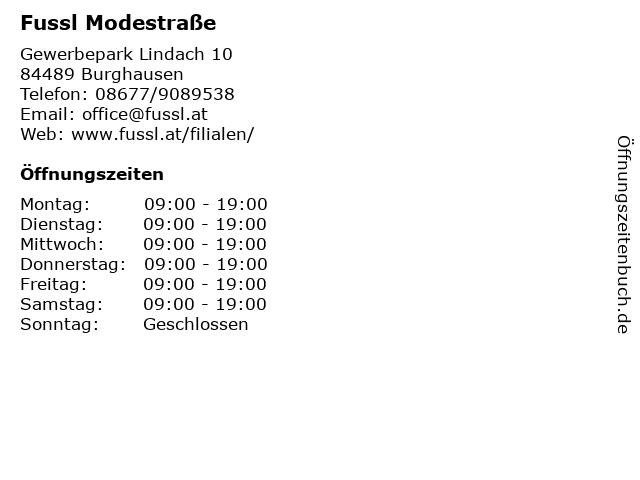Fussl Modestraße in Burghausen: Adresse und Öffnungszeiten