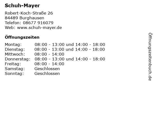 "brand new b7ada 6476d ᐅ Öffnungszeiten ""Schuh-Mayer"" | Robert-Koch-Straße 26 in ..."