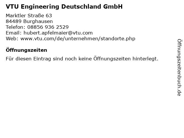 VTU Engineering Deutschland GmbH in Burghausen: Adresse und Öffnungszeiten