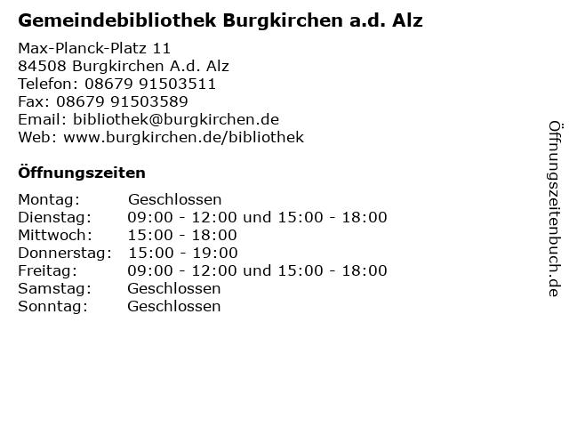 Gemeindebibliothek Burgkirchen a.d. Alz in Burgkirchen A.d. Alz: Adresse und Öffnungszeiten