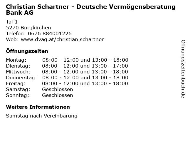 Christian Schartner - Deutsche Vermögensberatung Bank AG in Burgkirchen: Adresse und Öffnungszeiten