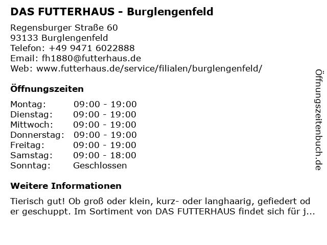 Das Futterhaus-Franchise GmbH & Co. KG in Burglengenfeld: Adresse und Öffnungszeiten
