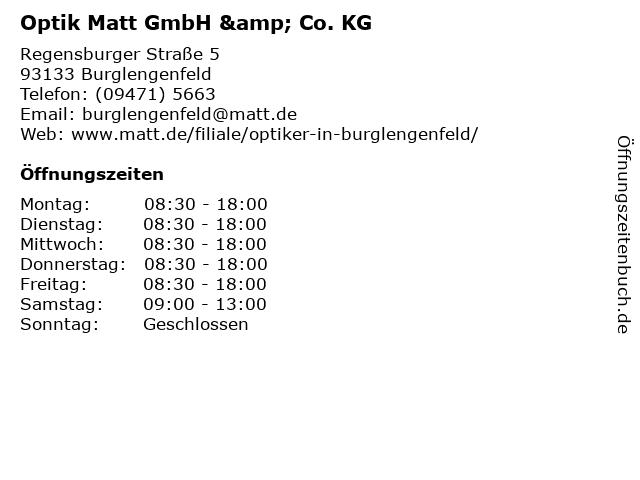 Optik Matt GmbH & Co. KG in Burglengenfeld: Adresse und Öffnungszeiten