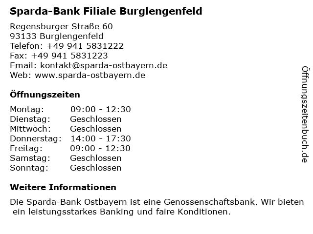 Sparda-Bank Filiale Burglengenfeld in Burglengenfeld: Adresse und Öffnungszeiten