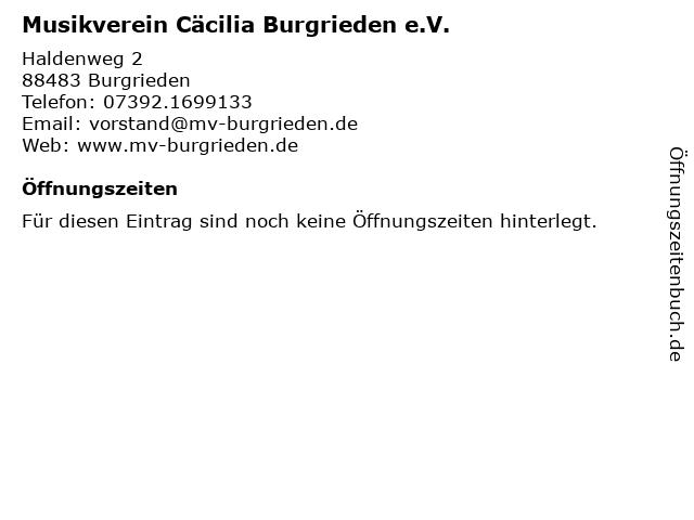 Musikverein Cäcilia Burgrieden e.V. in Burgrieden: Adresse und Öffnungszeiten