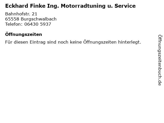 Eckhard Finke Ing. Motorradtuning u. Service in Burgschwalbach: Adresse und Öffnungszeiten